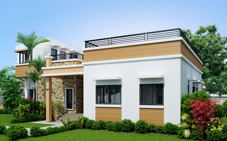 3 - Get Two Story Small House Design With Rooftop Gif