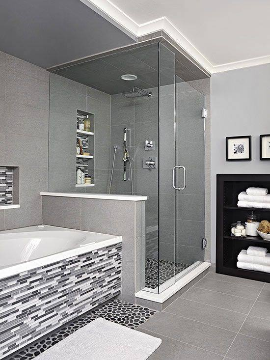 black white and gray bathroom