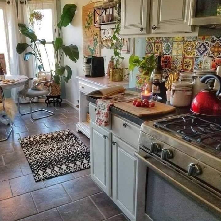 Colorful boho chic kitchens