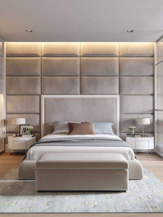 Bed with wider headboard