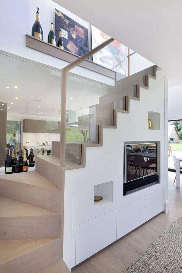 TV under stairs design