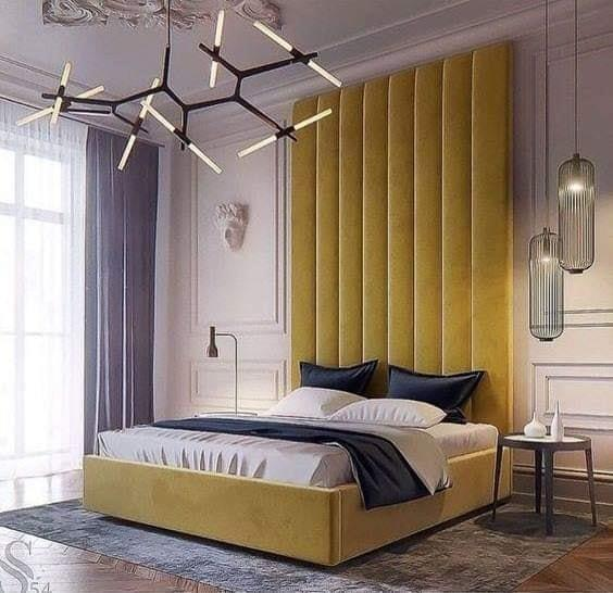 Yellow-colored headboard