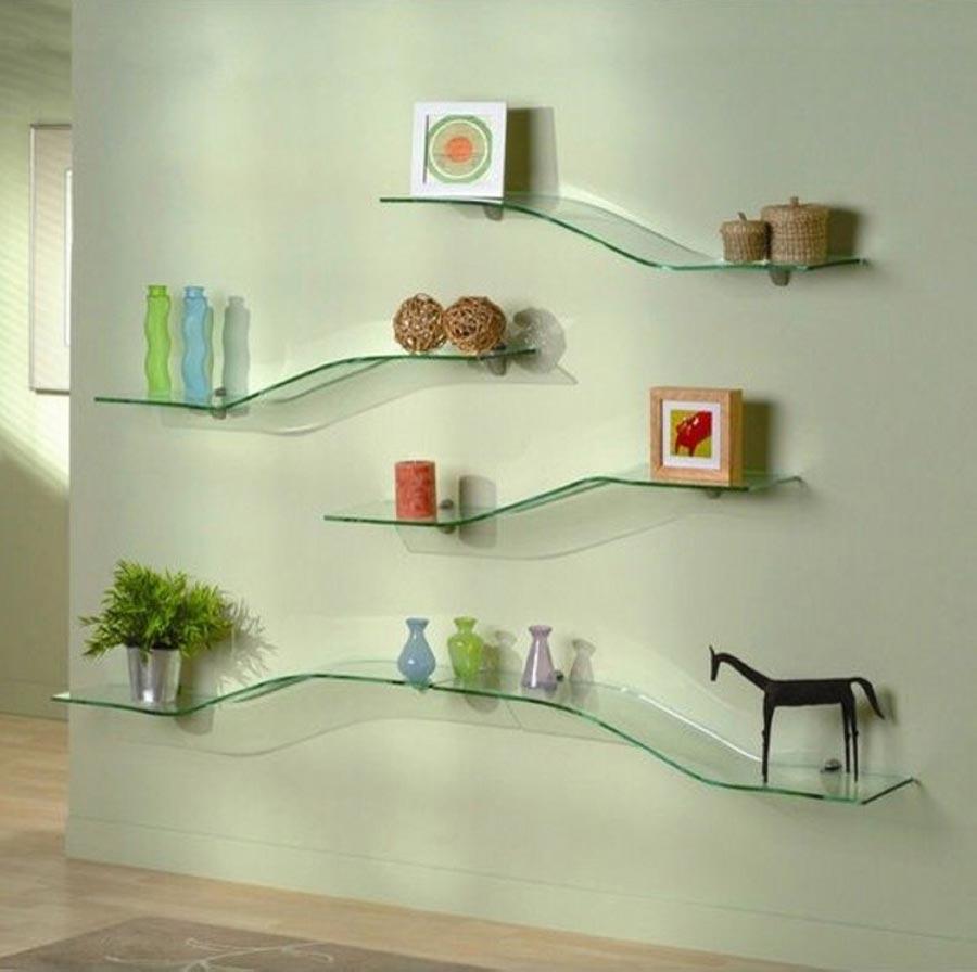 Glass shelves for bedroom