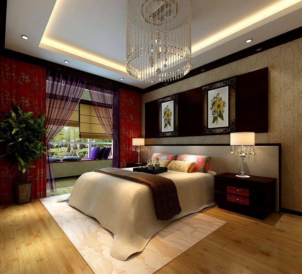 Modern bedroom with wallpaper