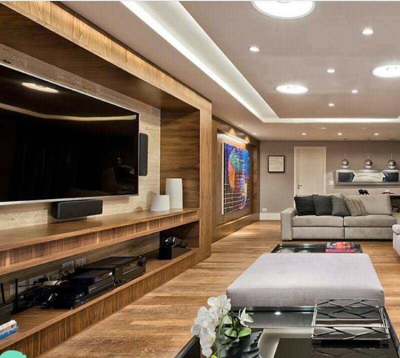 Luxurious living room and TV standing in an apartment