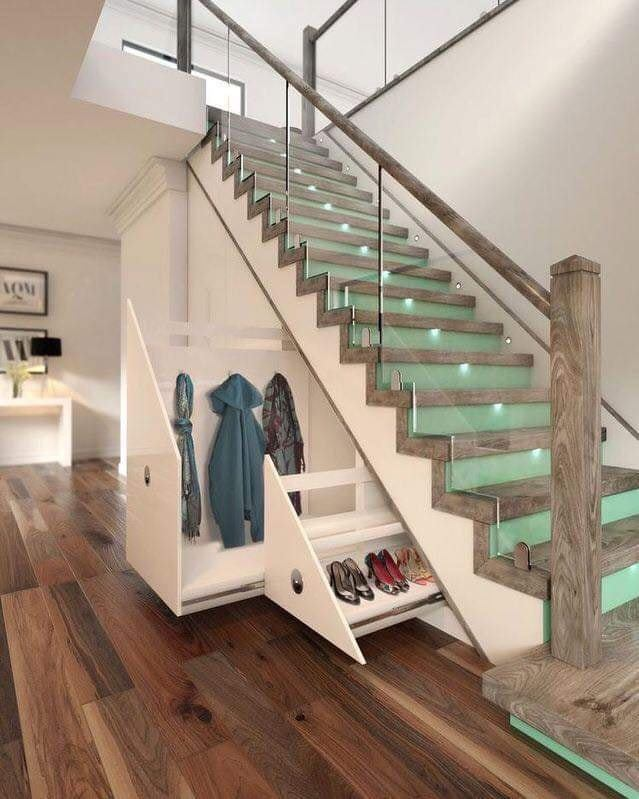Glass staircase with storage