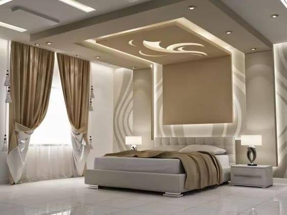 Bedroom gypsum ceiling design photo