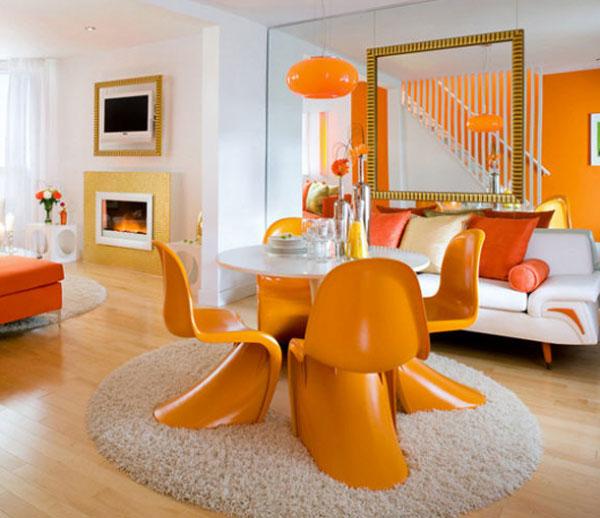 orange monochromatic interior design