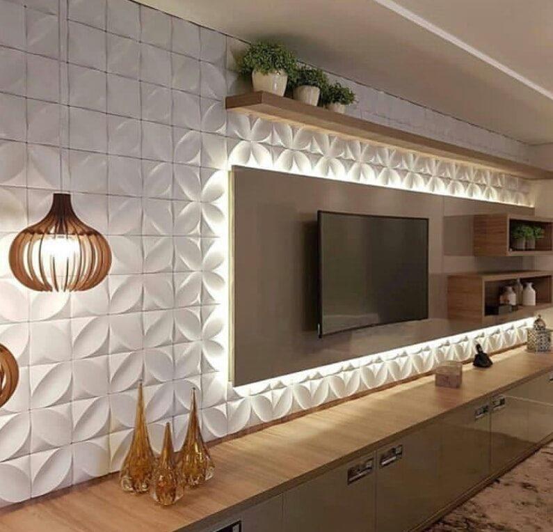 3d wall panels behind tv
