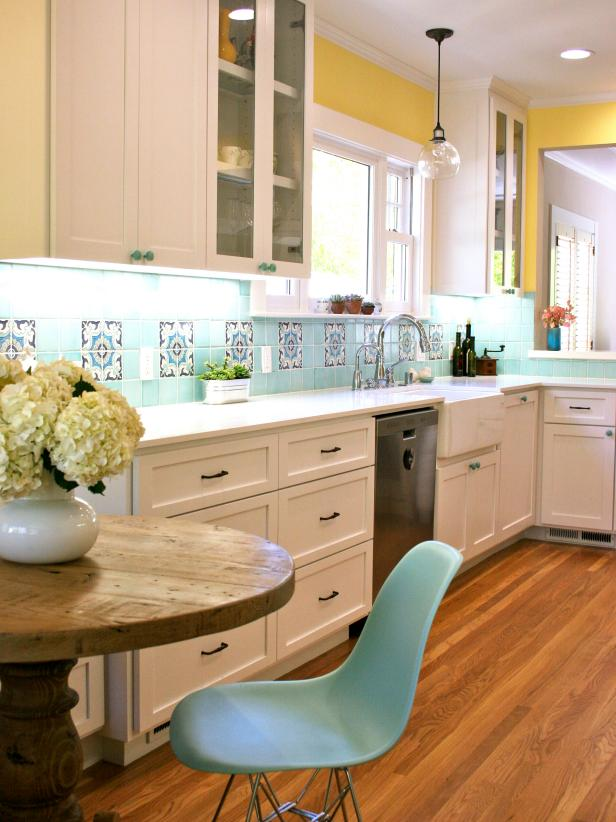 white yellow blue kitchen