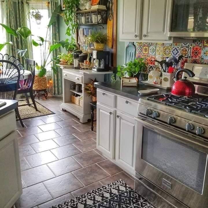 Kitchen interior design with plants