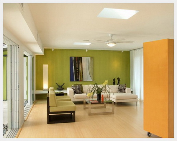 House interior with Orange color in a prominent place