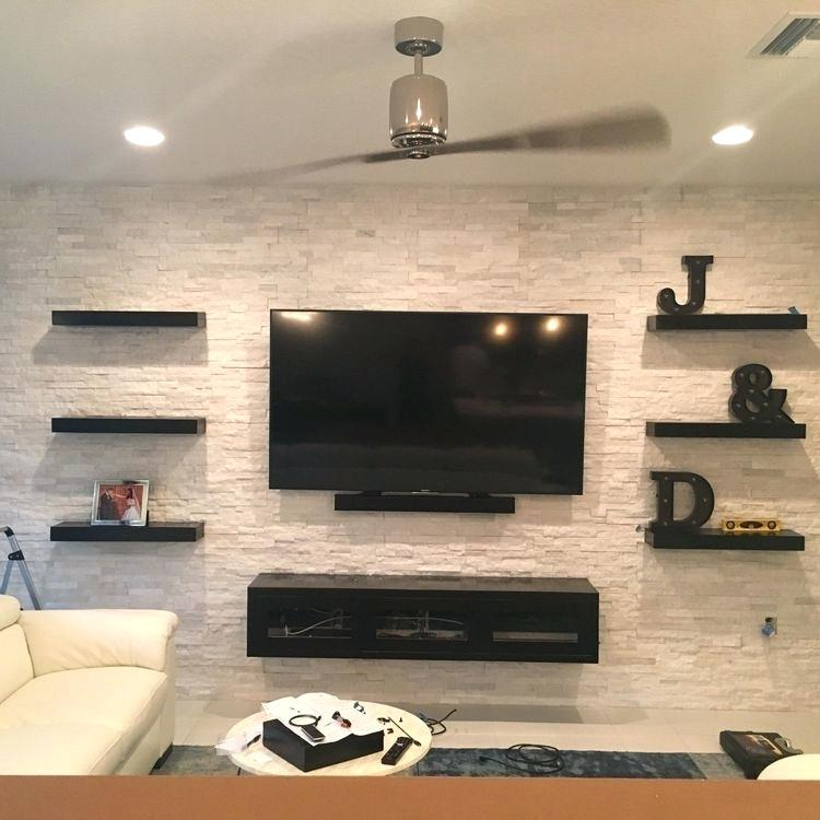 Floating wall shelf TV
