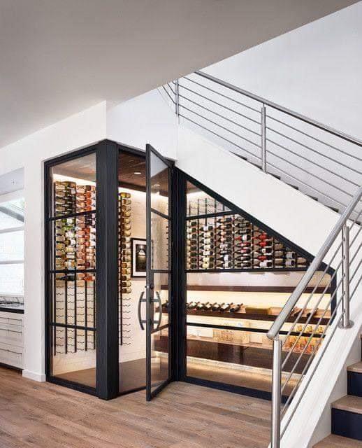 Wine cellar design under stairs