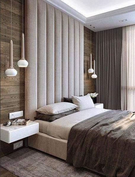 White headboard in bedroom