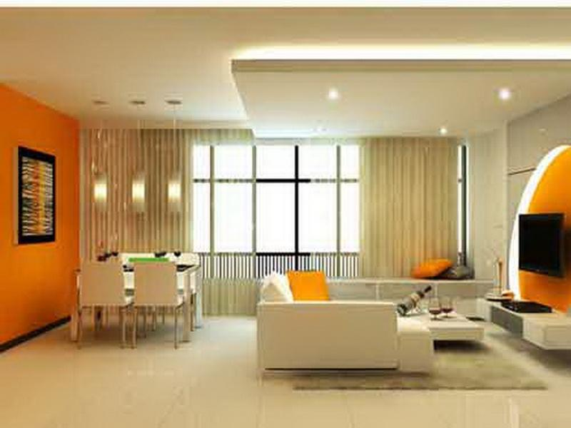 Living room home interior painting with Orange color variations