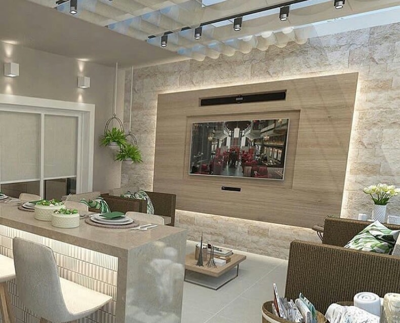 Modern living room interior design with TV embedded to the wall