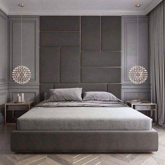 Luxurious bedroom and black headboard