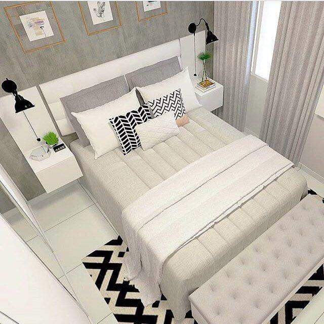 Unique white color bedroom design concept
