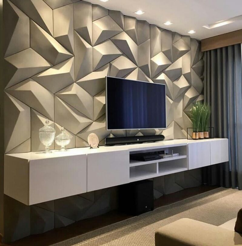 LCD wall design and TV standing in living room