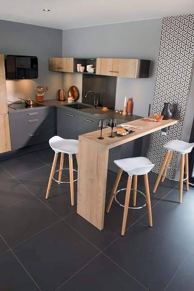 black floor kitchen design idea
