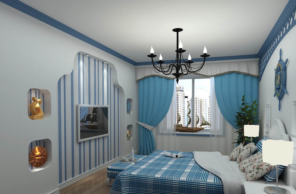 Spectacular Cyan bedroom design idea for apartment