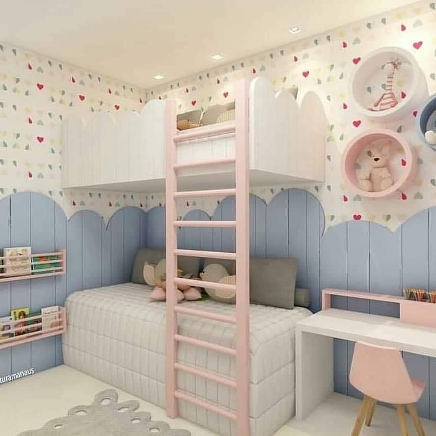Kids bedroom design with an upper bedroom
