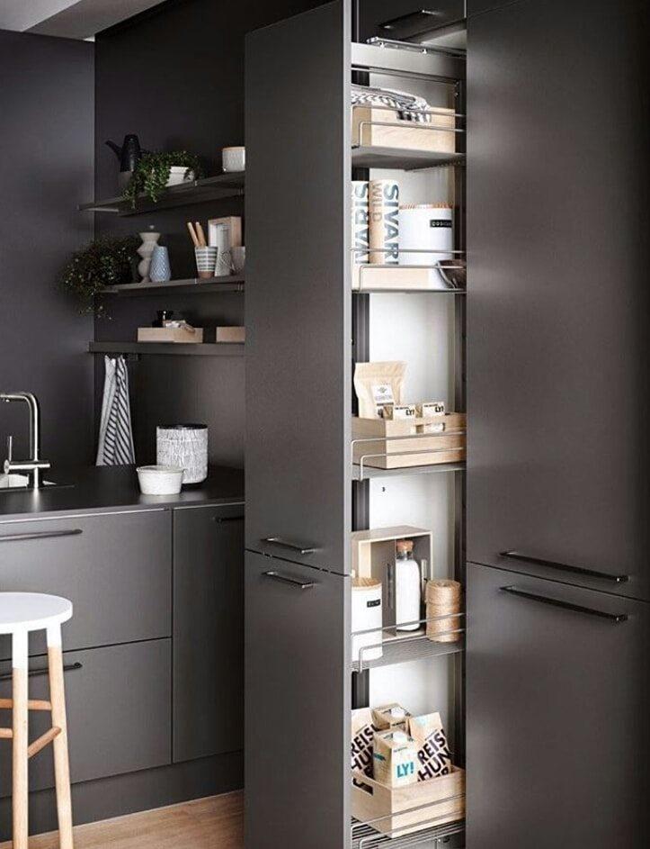 kitchen storage design black