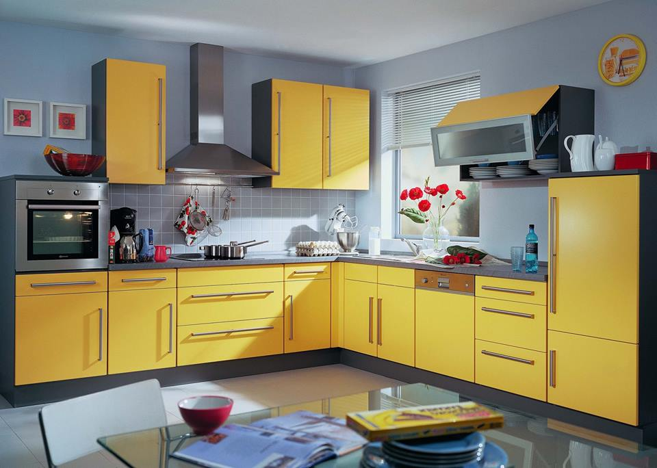 Yellow kitchen of an apartment