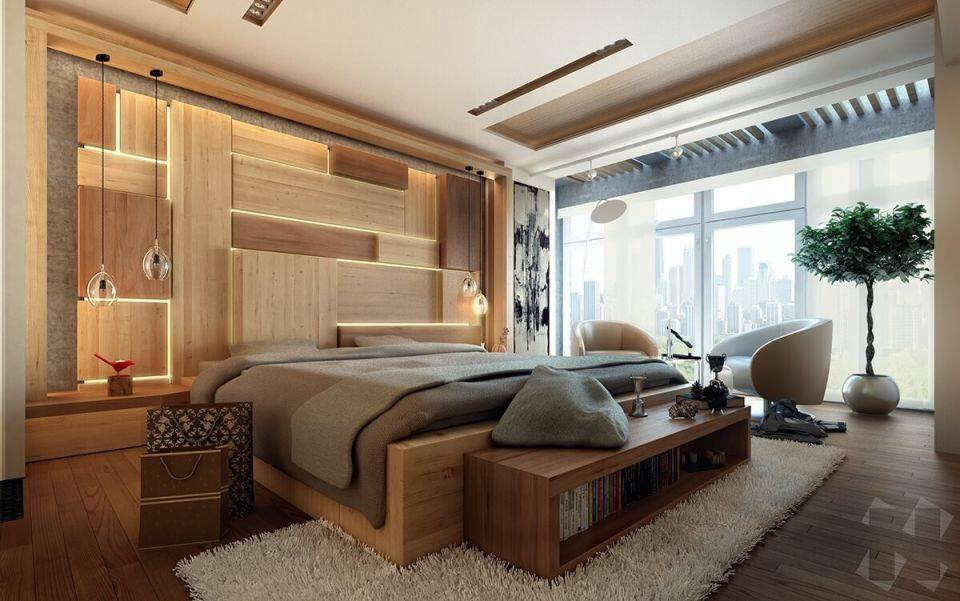 Modern wood bedroom design with brown shades