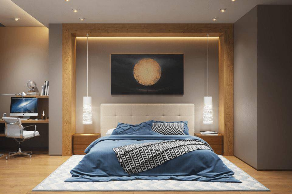 Bedroom design concept with brown shades