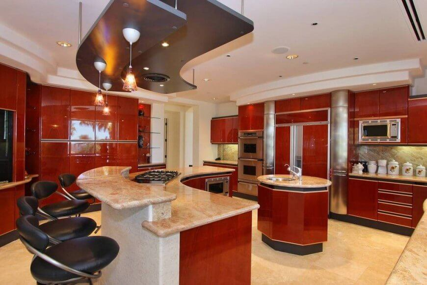 beautiful red kitchen design for family with many members