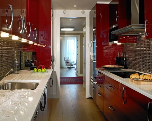 small red family kitchen