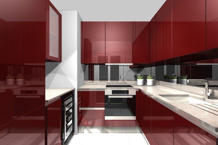 Modern dark red kitchen design
