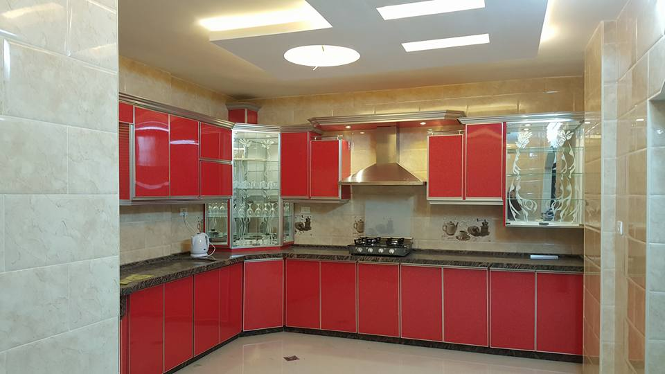 red and gold color combined kitchen