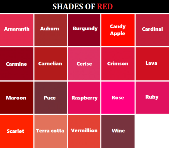 shaded of color red