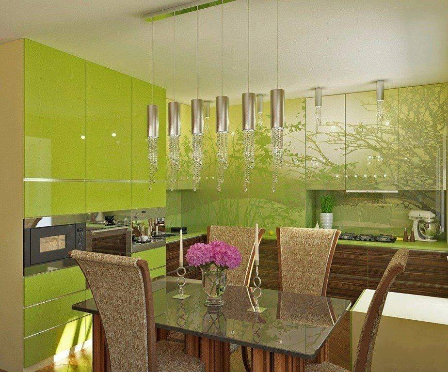 Green kitchen design with dining table