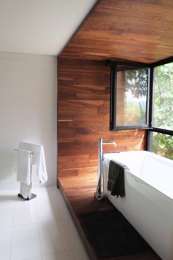 Bathroom design with glass window
