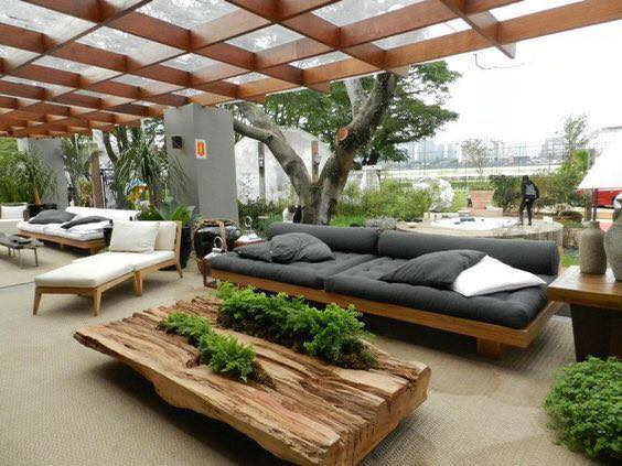 Covered outdoor seating areas