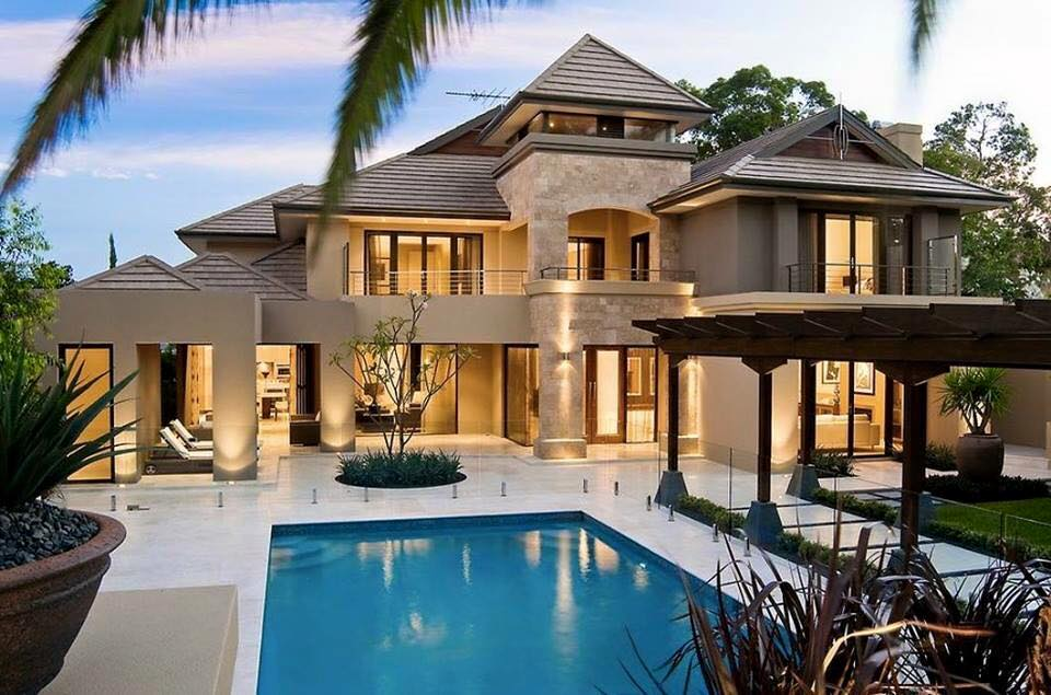 Modern home design with a swimming pool