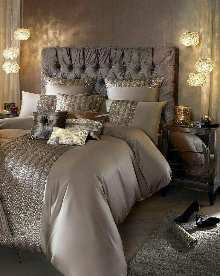 Glam champagne bedroom