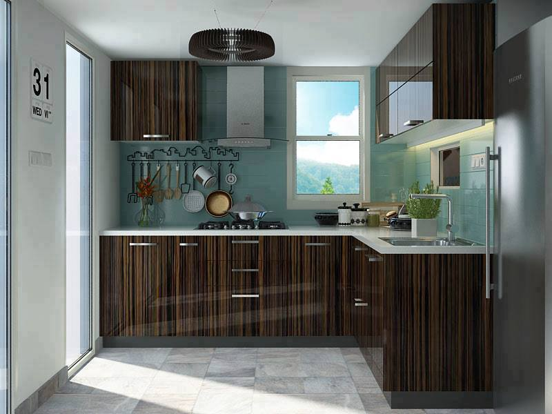 L-shaped modular kitchen design idea