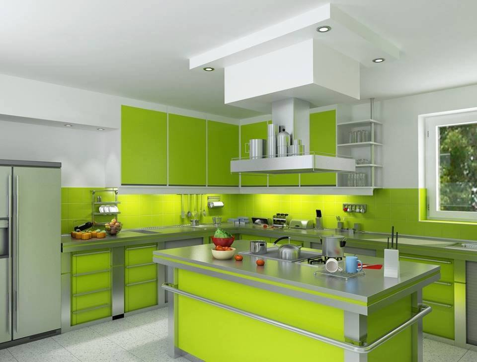 Kitchen design green and white