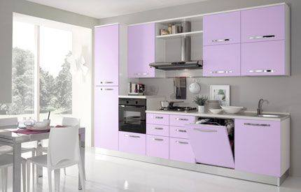 Violet cabinets in kitchen