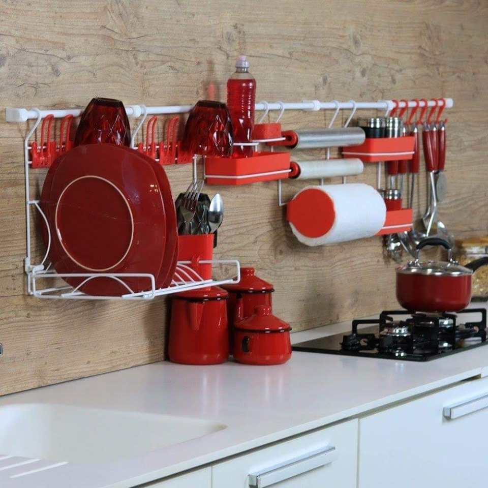 Red kitchen self design idea
