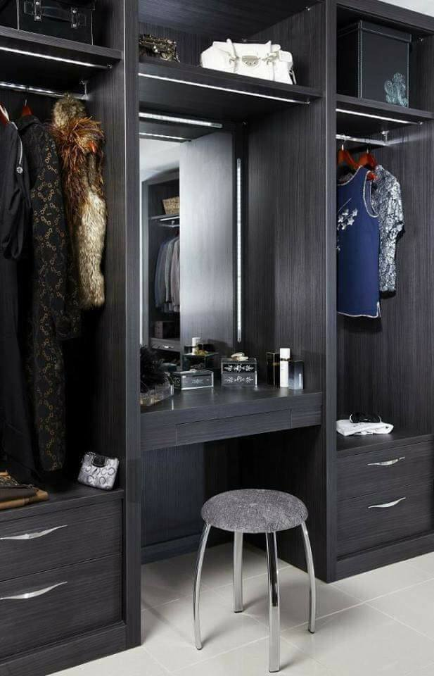 Master bedroom wardrobe design with dressing table
