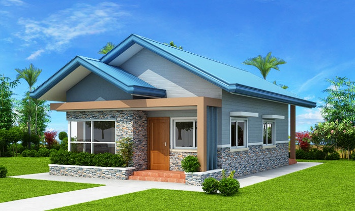 Three Bedroom Blue Roof Bungalow House Plan My Home My Zone