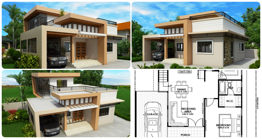 Two Storey Impressive House Plan With Roof Deck My Home My Zone