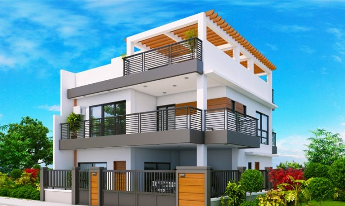 Three Bedroom With Roof Deck Modern House Plan My Home My Zone