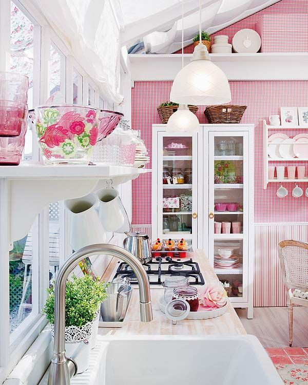 white and rose color kitchen with modern look